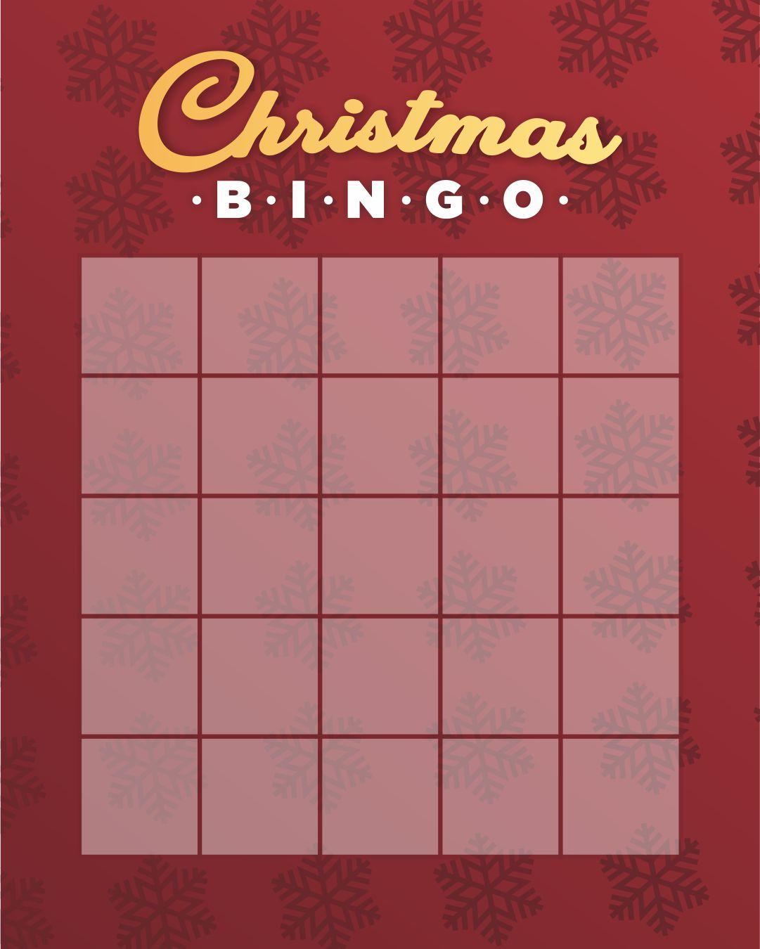 Christmas Bingo Template Blank