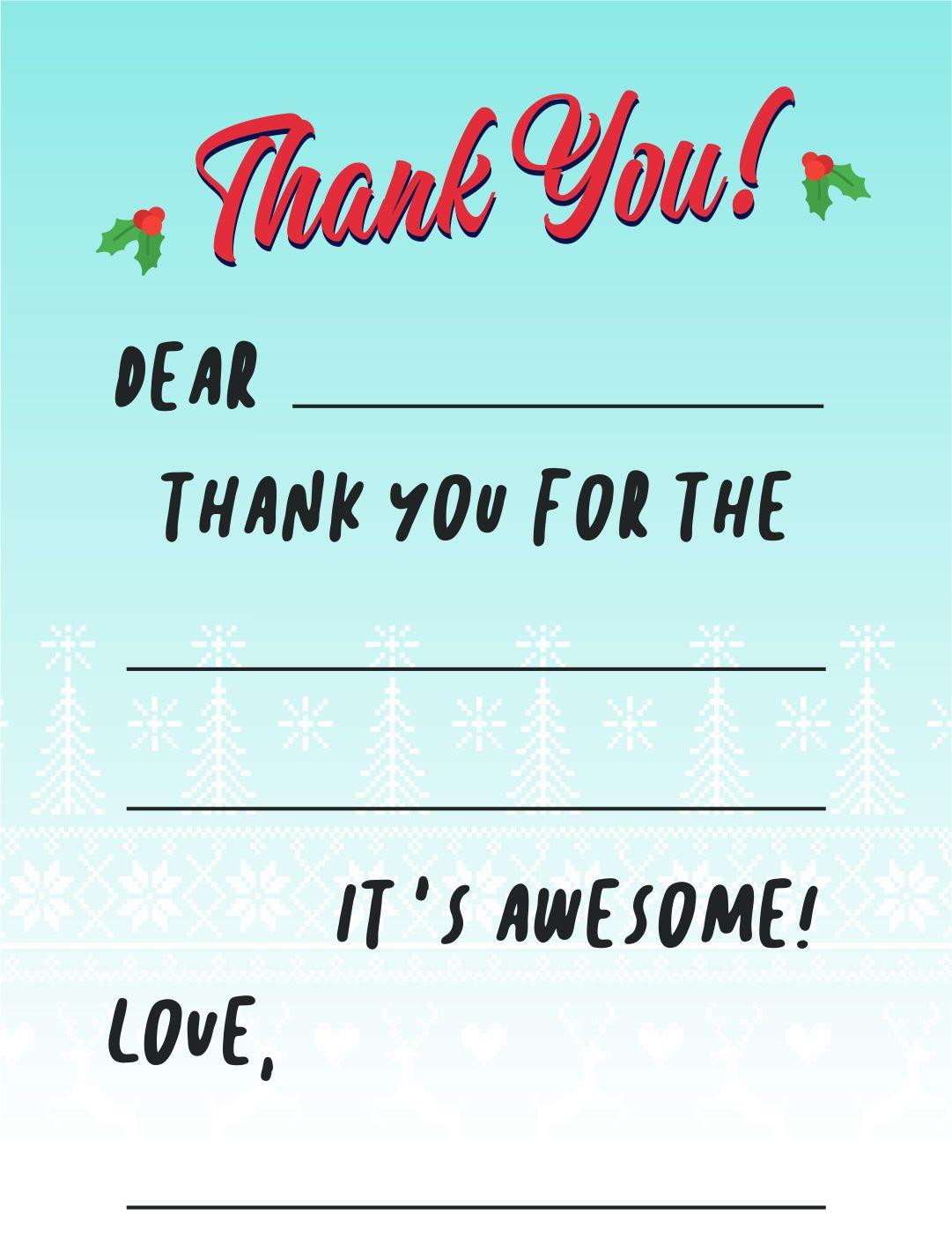 Christmas Thank You Cards Printables