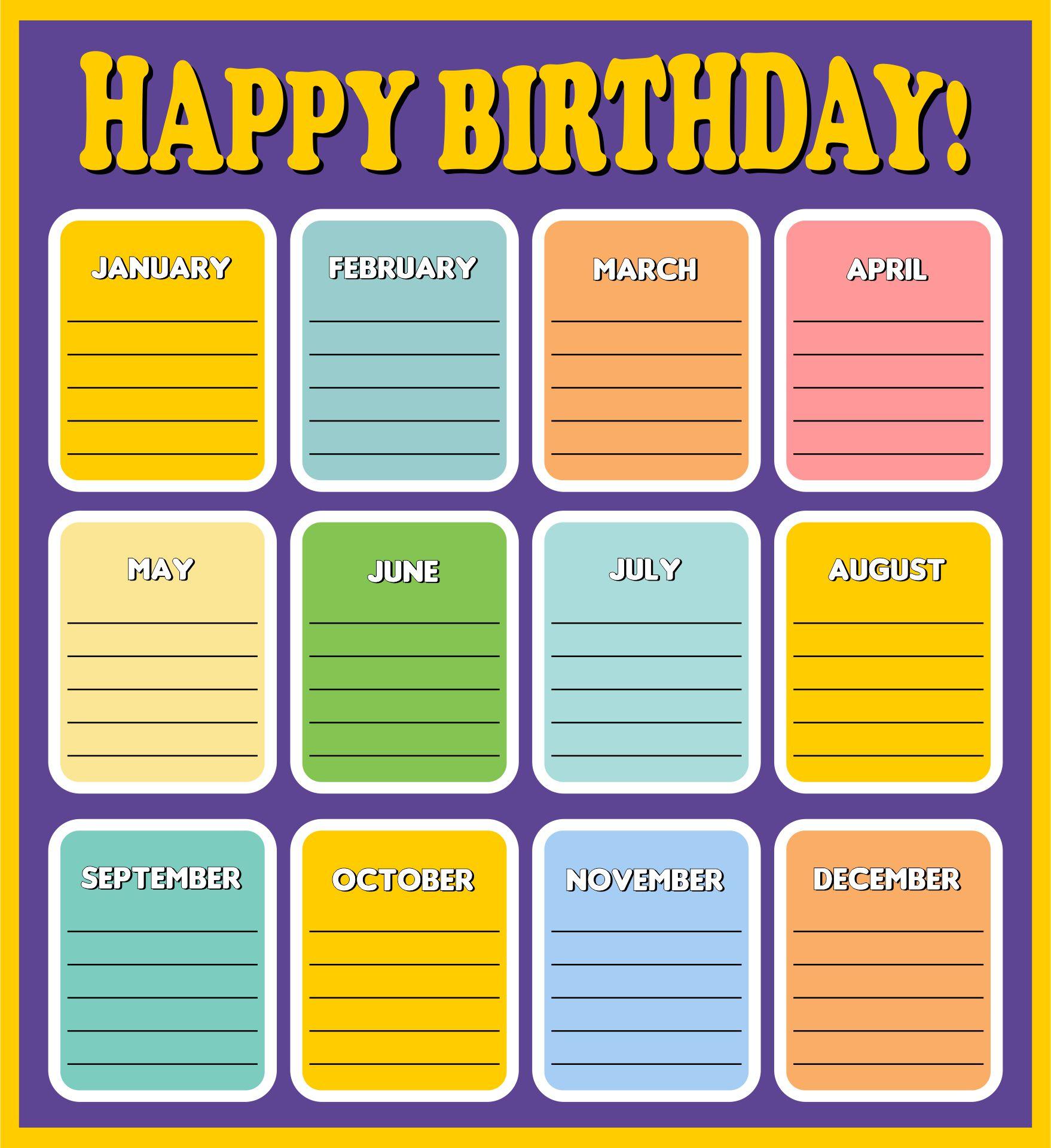 Classroom Birthday Chart for Preschool