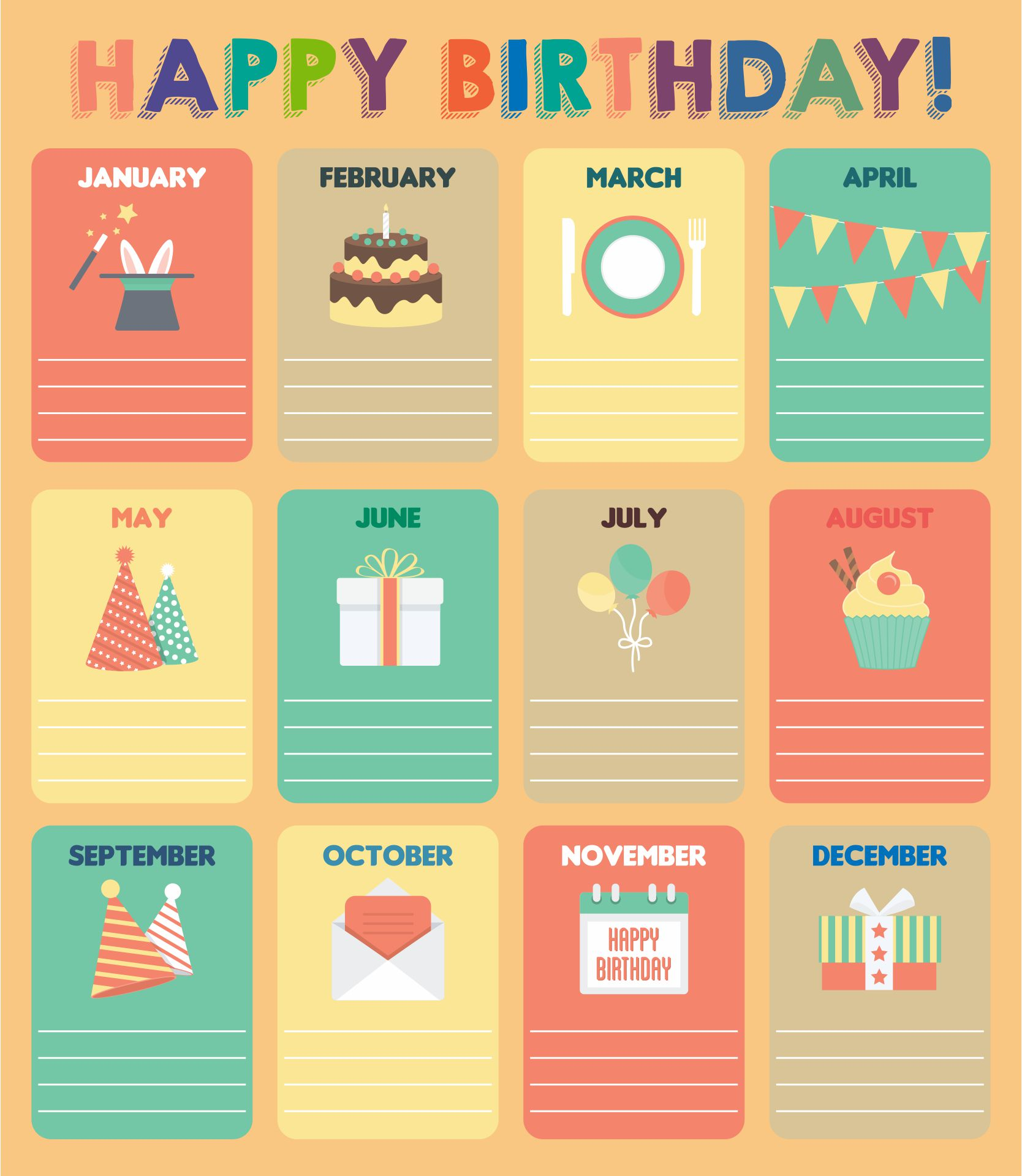 Kids Birthday Calendar : Best images of printable for classroom birthday charts