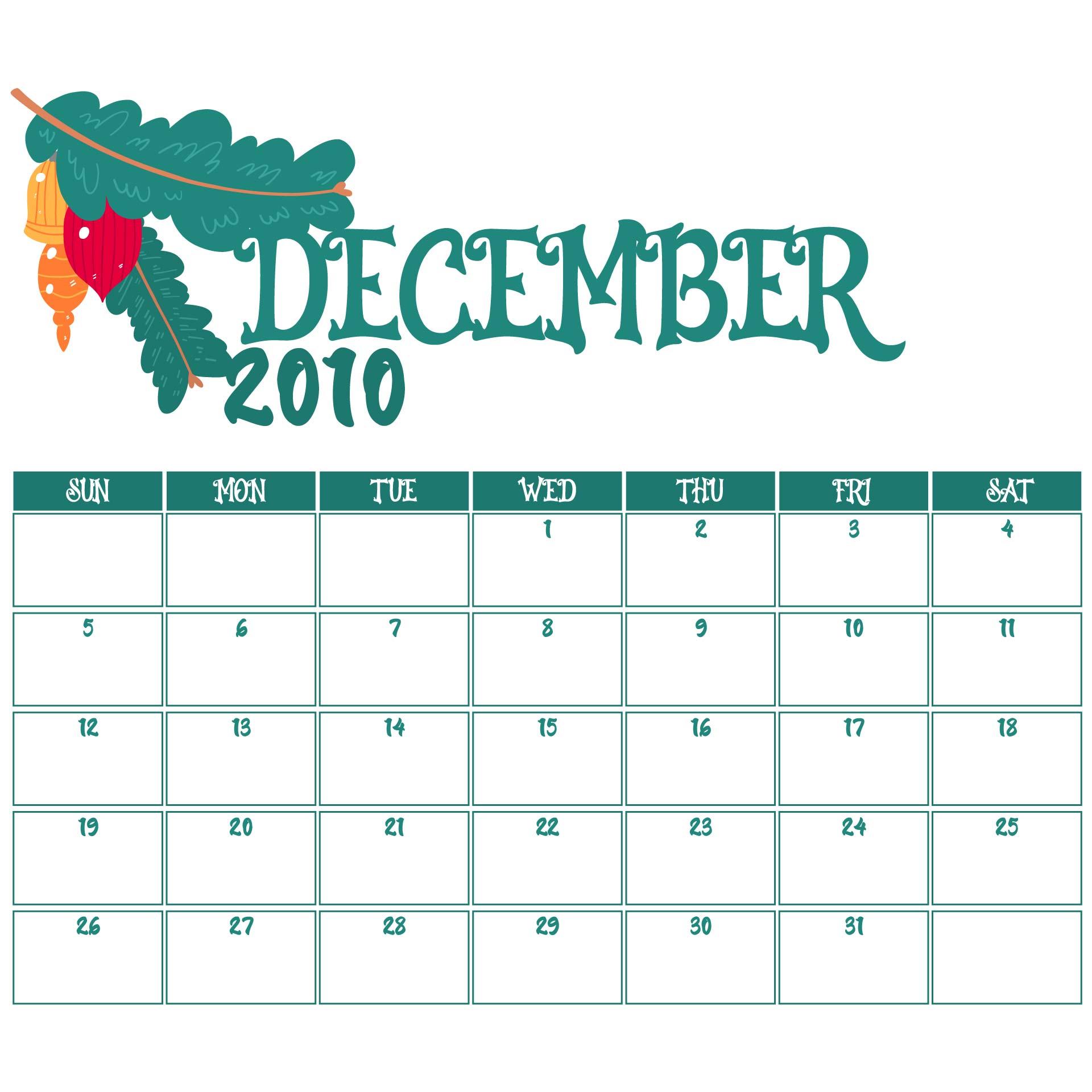 December 2010 Calendar Printable