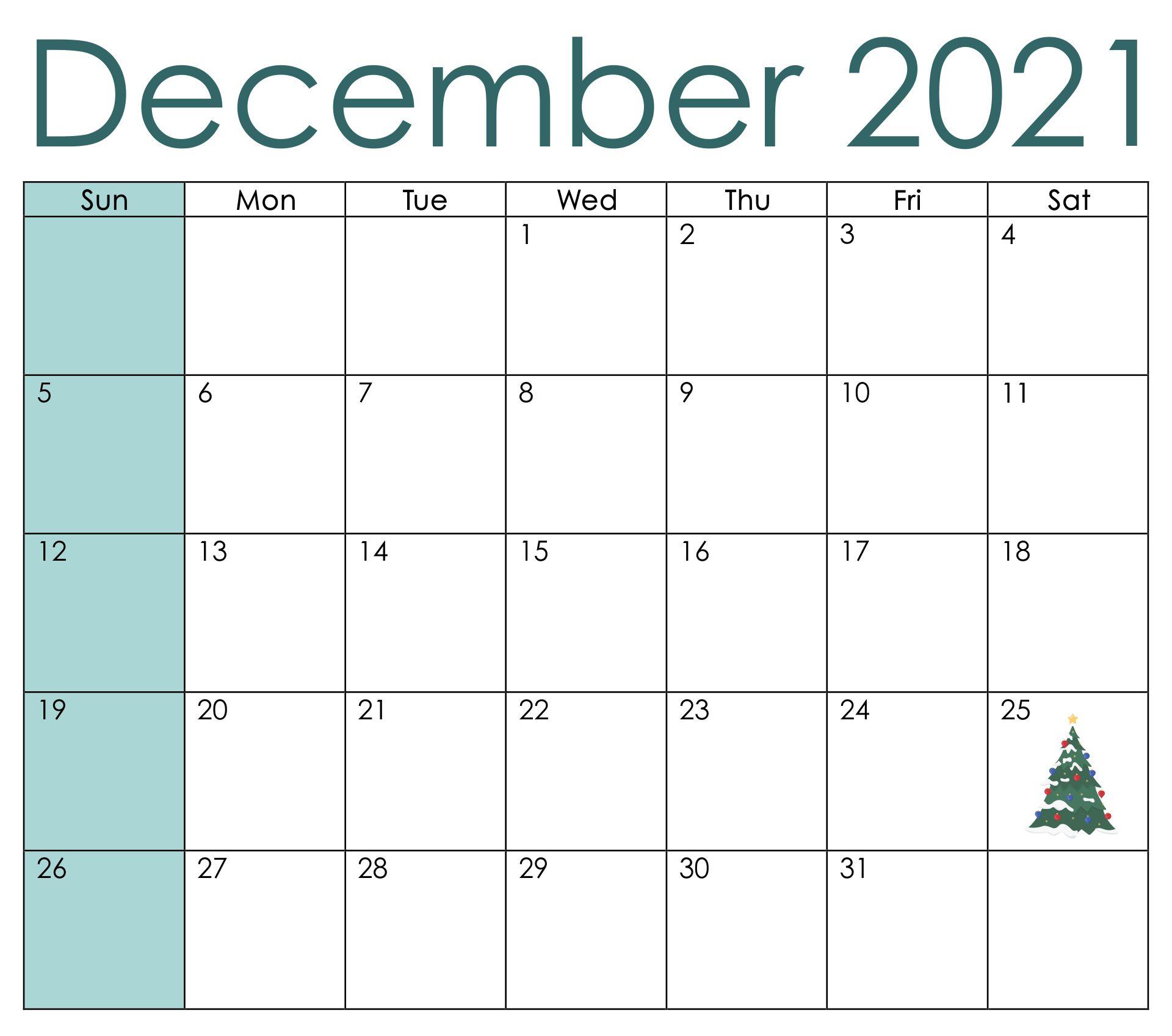 December Printable Calendar Numbers