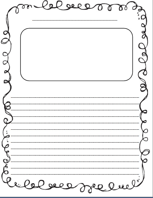 100 original papers writing paper with picture box – Lined Paper with Drawing Box