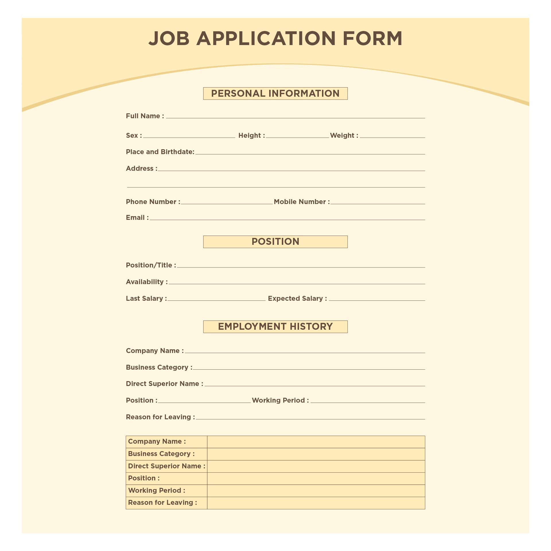 Employment Job Application Forms