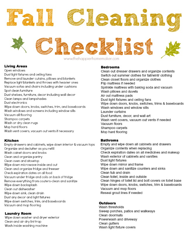 8 Images of Cleaning List Printable