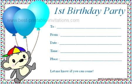 First Birthday Party Invitations Printable Free