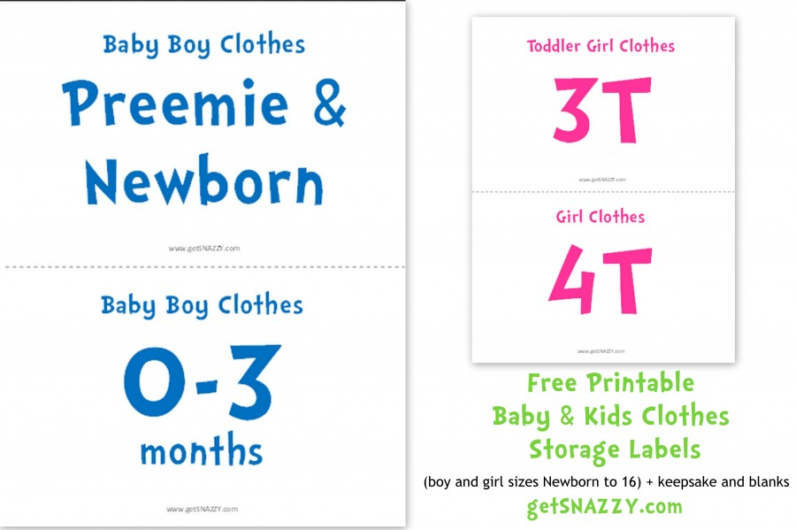 Free Printable Baby Clothes Storage Labels