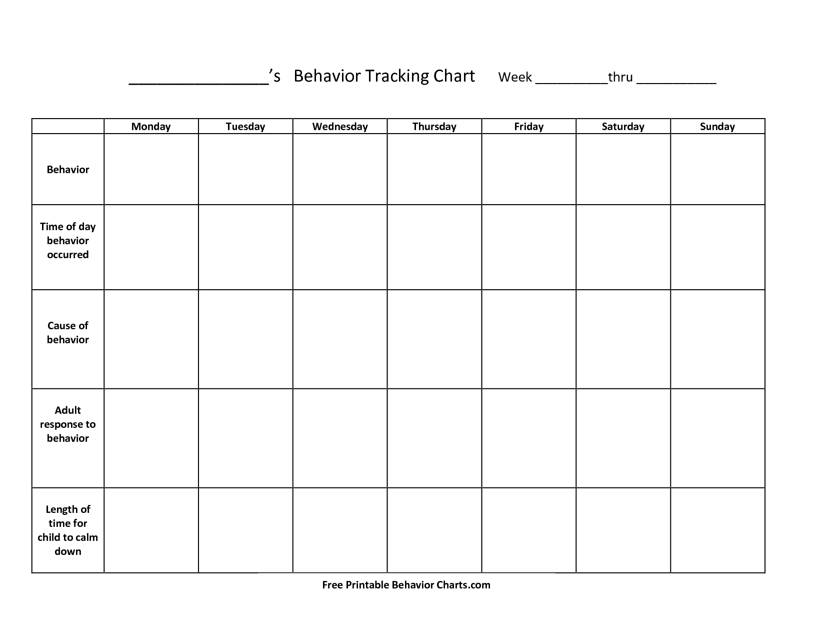 7 Images of Printable Behavior Charts For Teachers