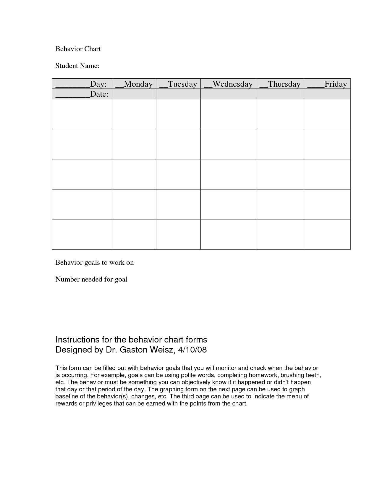... Charts for Teachers and Free Printable Behavior Chart Templates