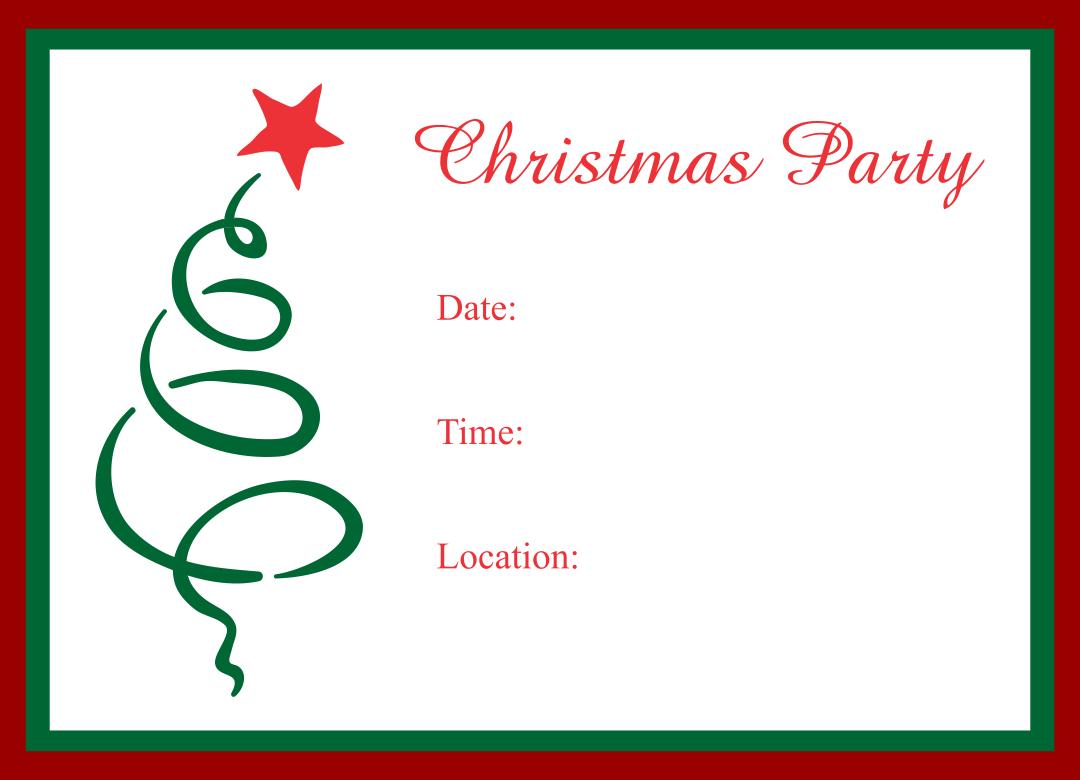 Printable Blank Christmas Party Invitations
