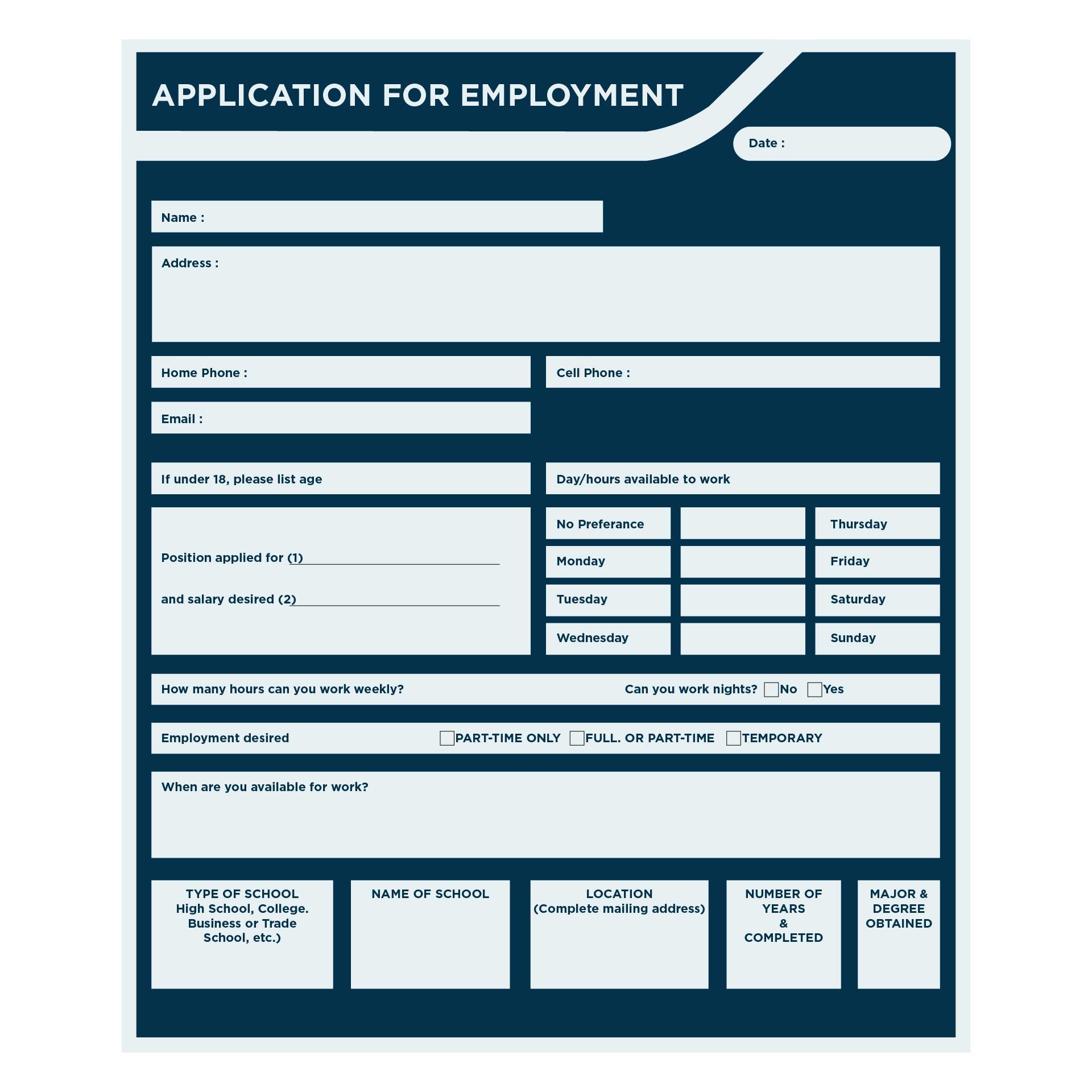 free printable blank employment application form