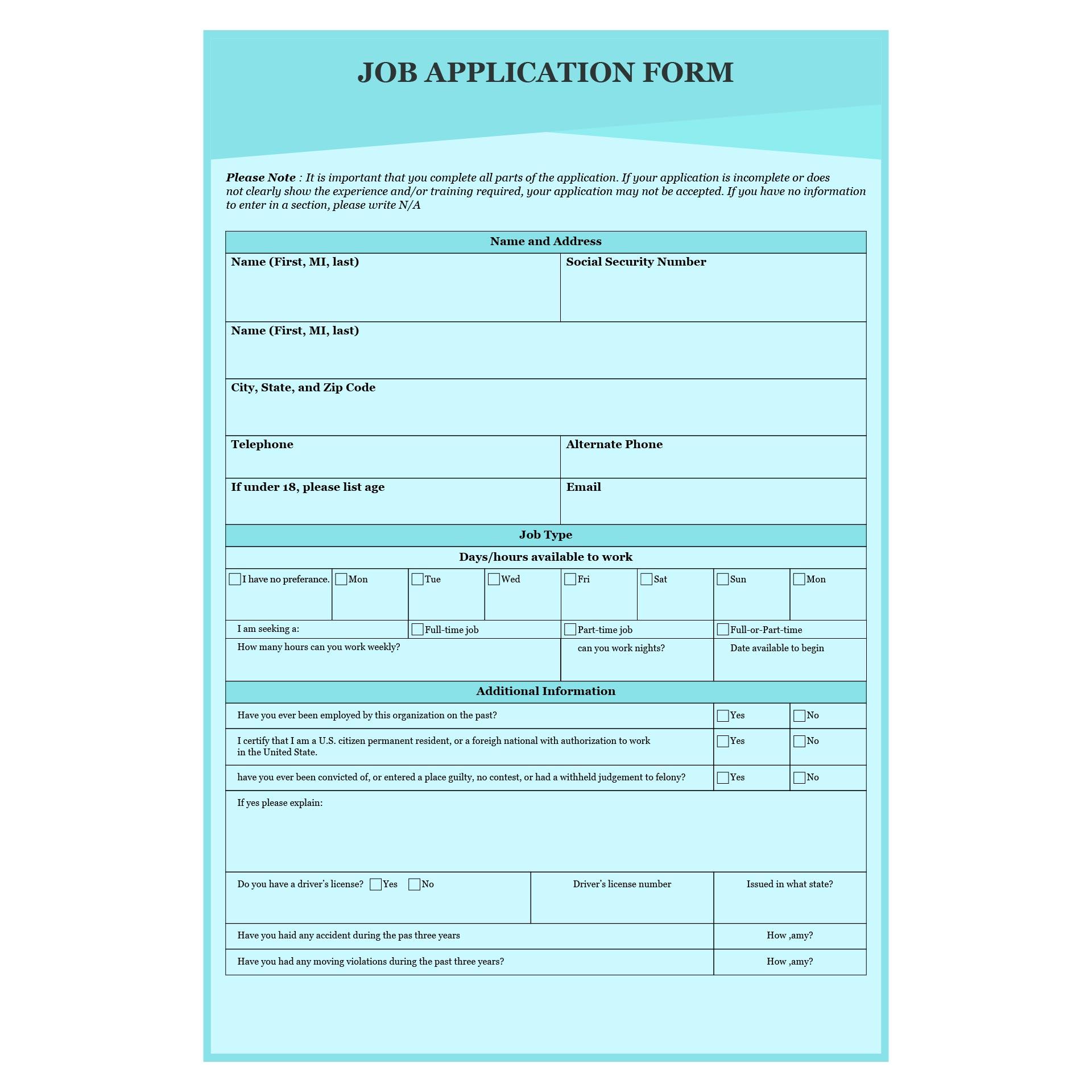 Printable Blank Job Application Forms