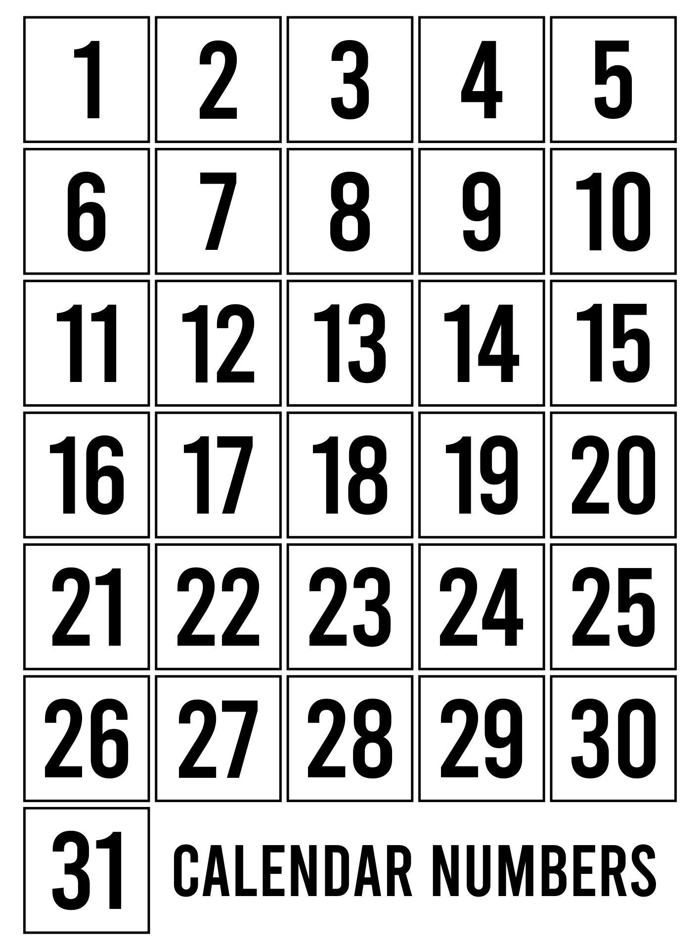 Printable Calendar Numbers