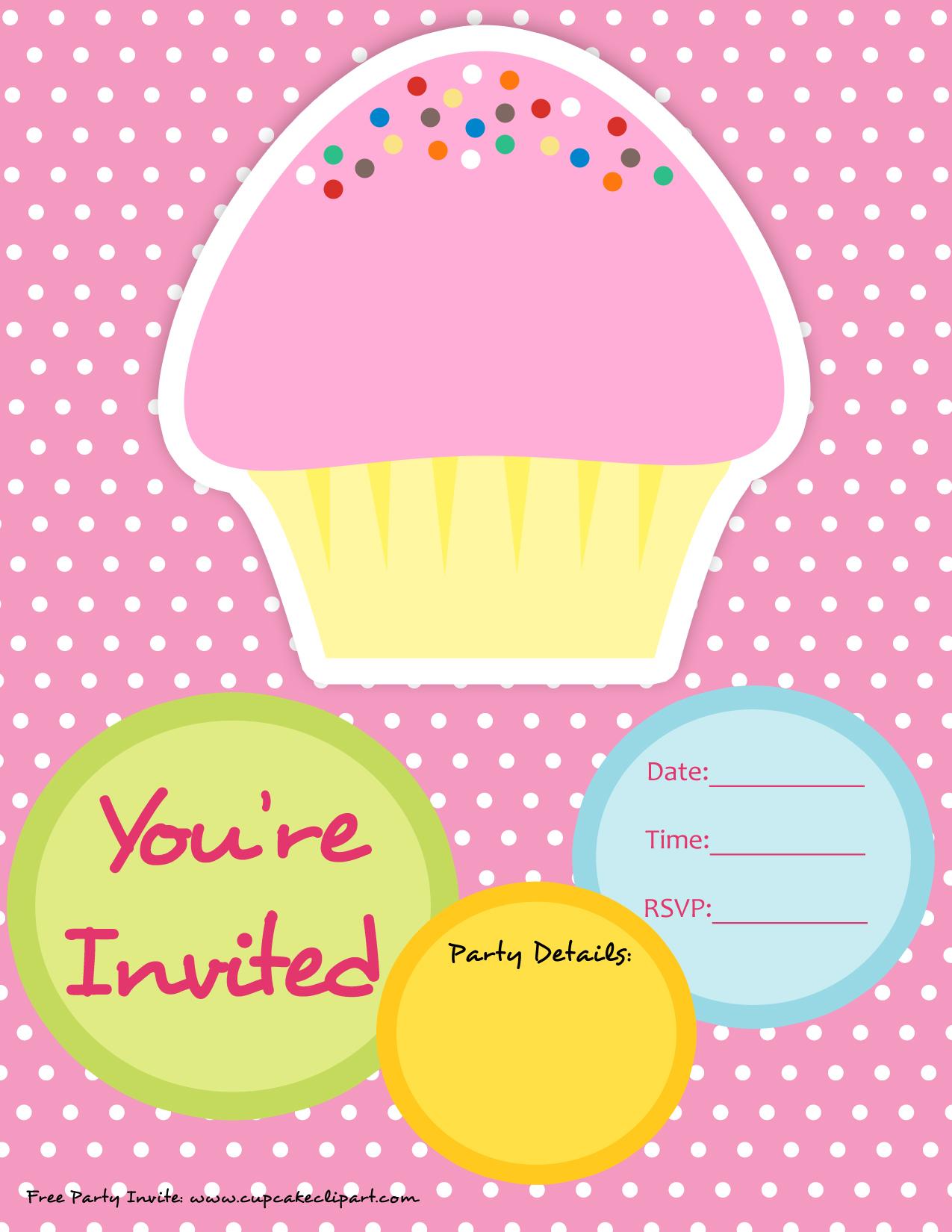 cupcake birthday party invitation templates printable free cupcake