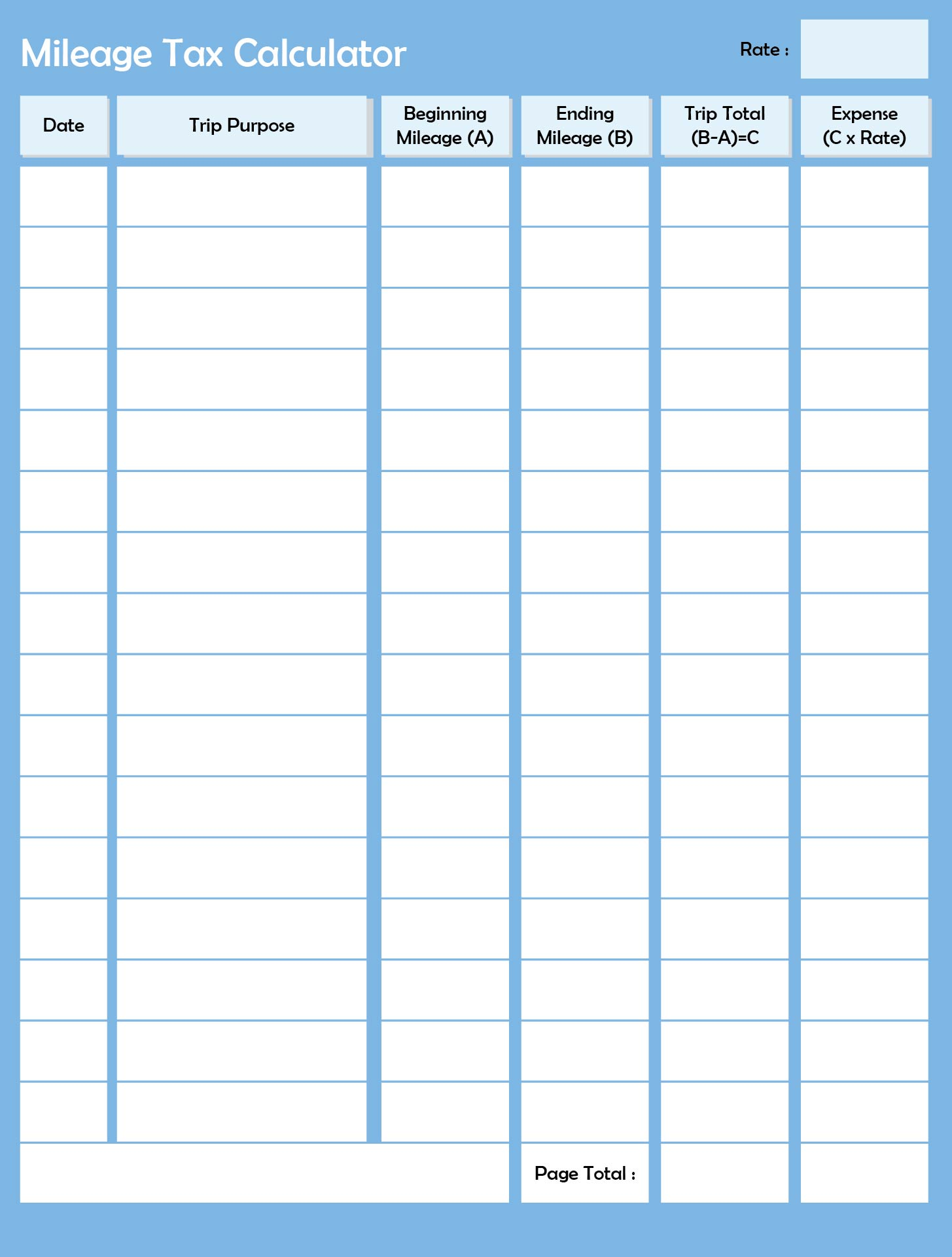 7 best images of printable mileage log sheet template printable