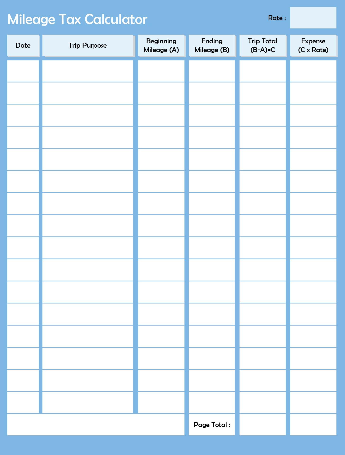Printable Mileage Log Sheet