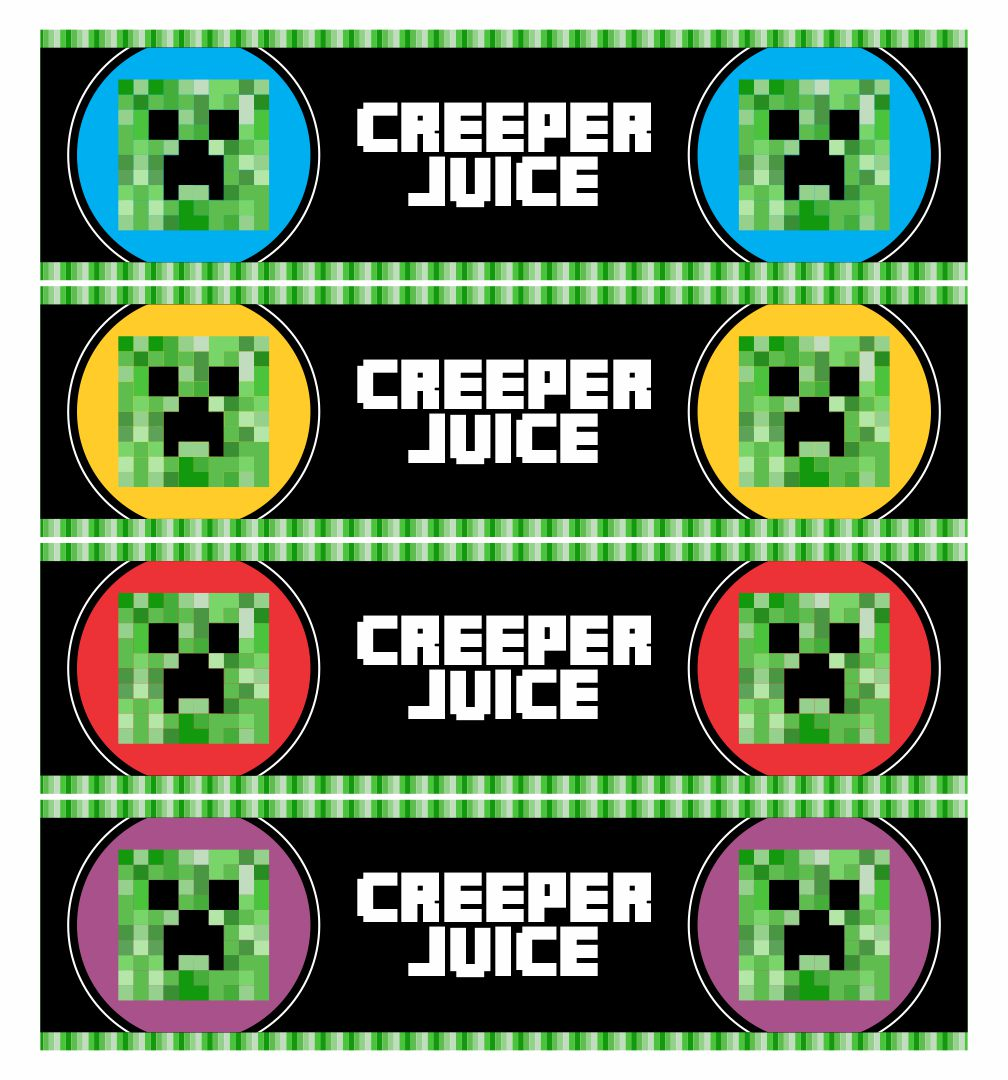 Printable Minecraft Water Bottle Labels