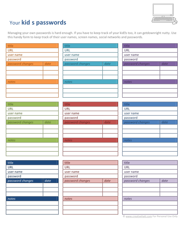 Printable Password Organizer Template