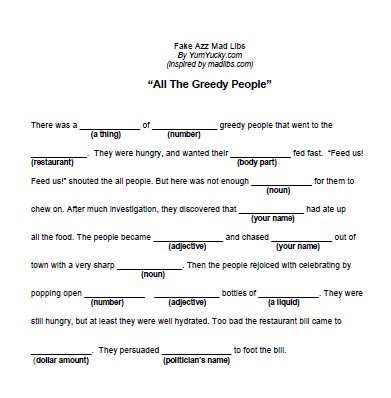 8 Images of Mad Libs Fill In The Blanks Printables