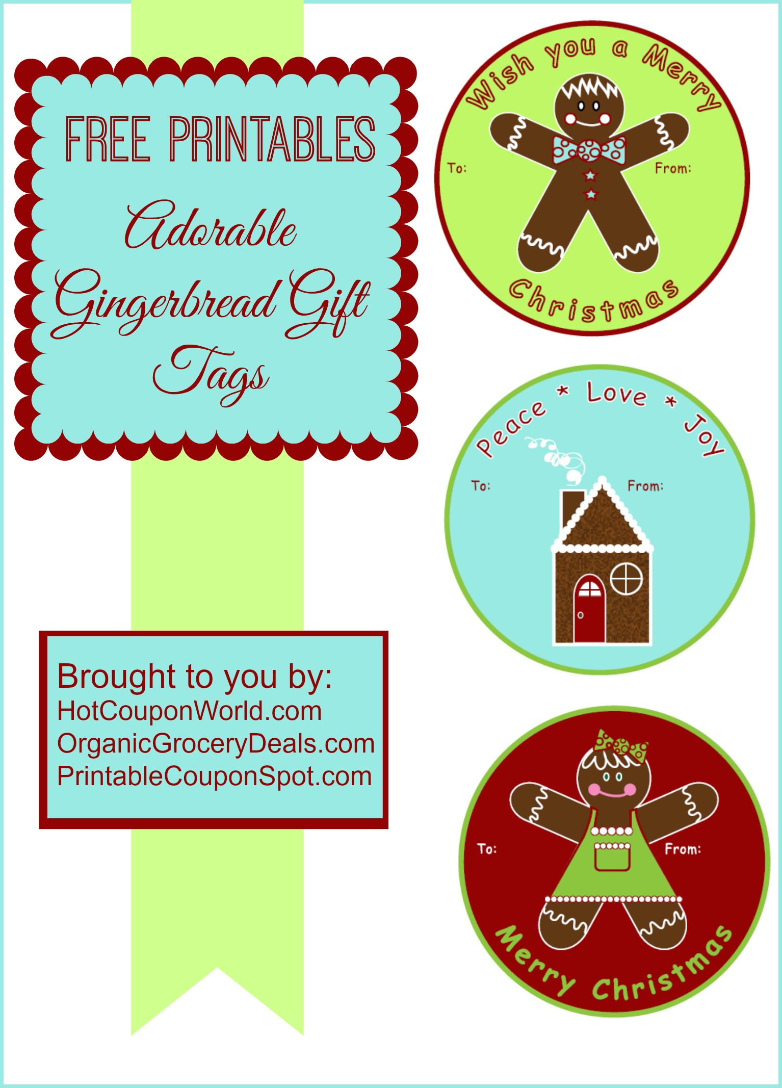 4 Images of Free Printable Gingerbread Gift Tags