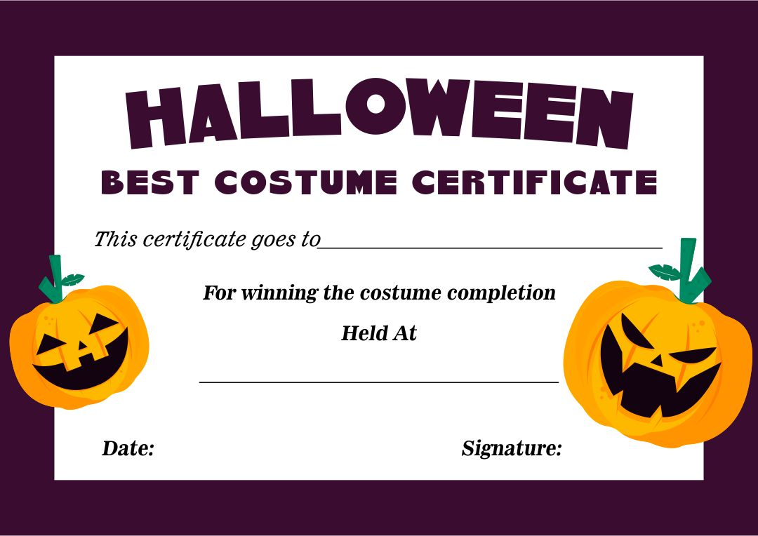 5 Images of Halloween Costume Award Printable Certificates