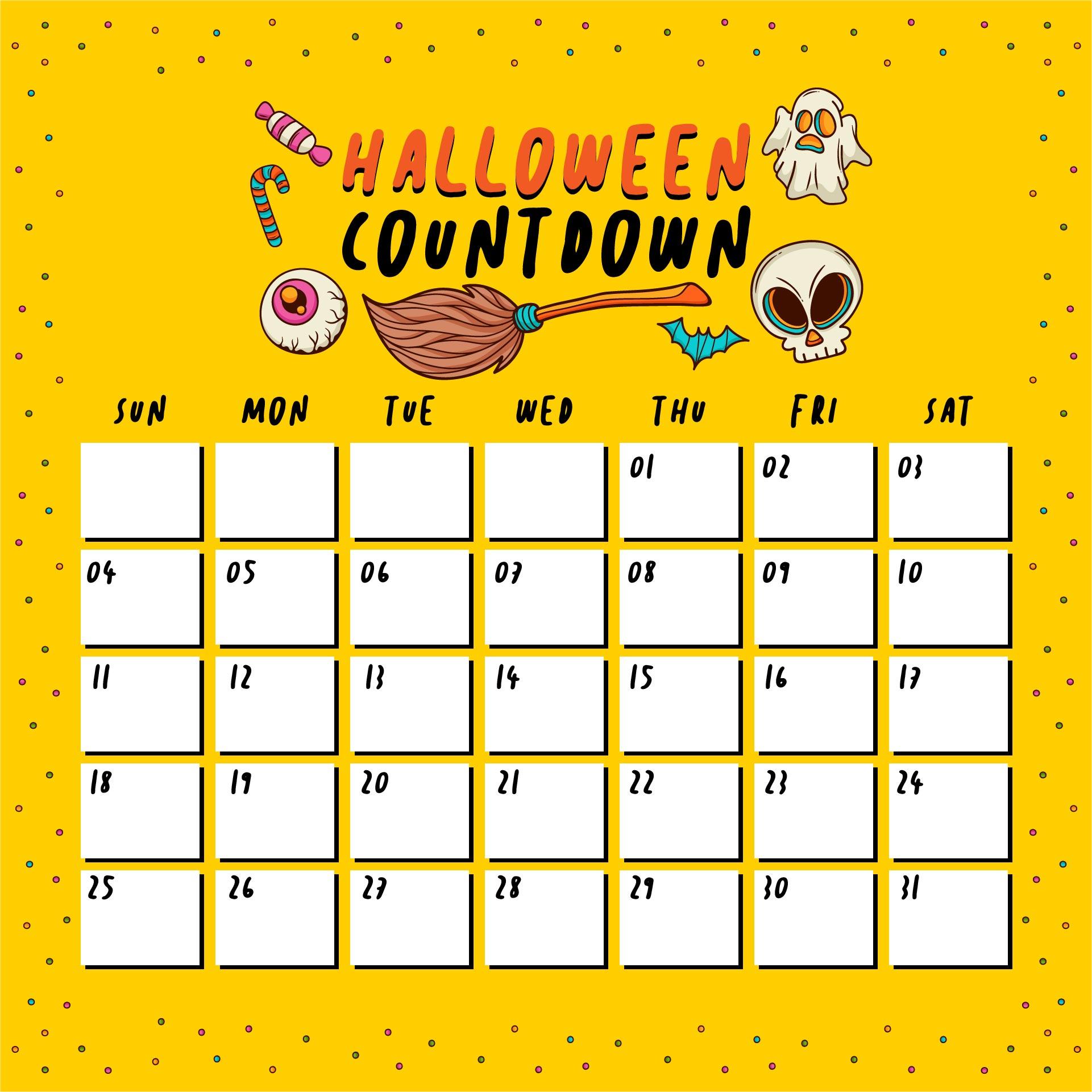 Halloween Countdown Calendar Printable