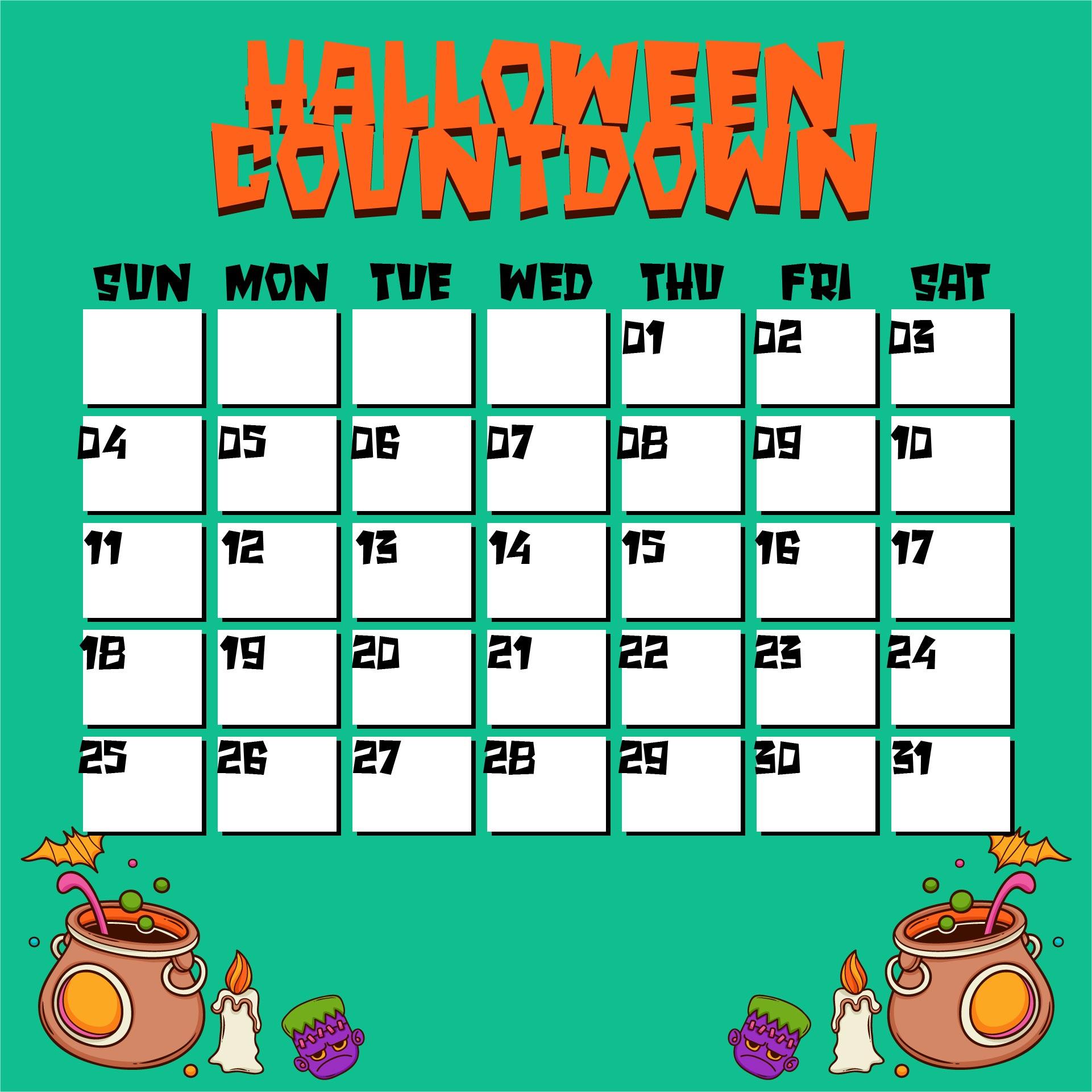 Halloween October 2014 Calendar Printable