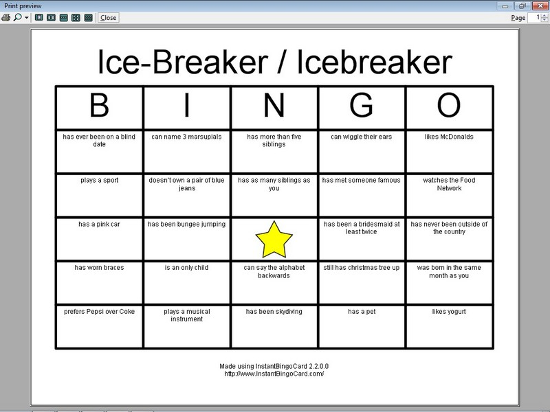 ice breaker bingo template 7 best images of printable icebreaker bingo games ice