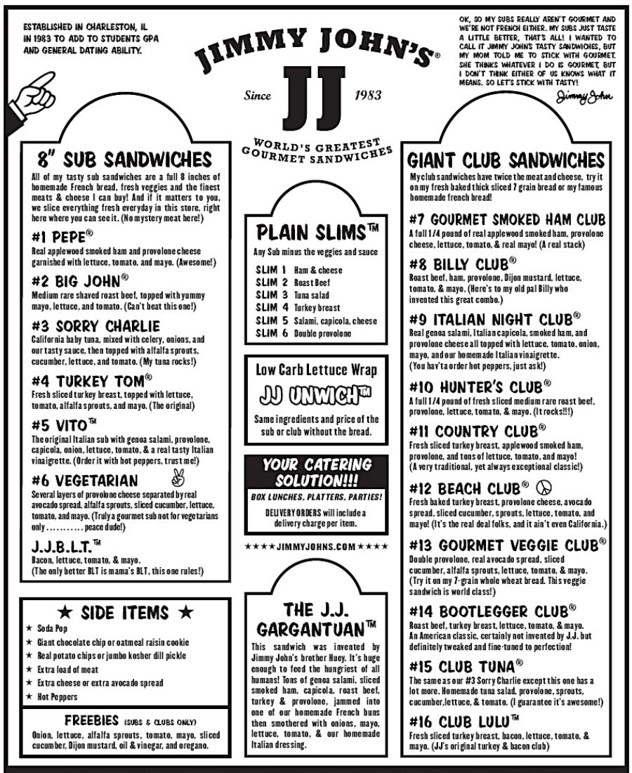 Jimmy John S Menu Printable