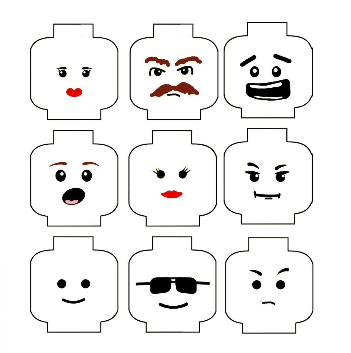 7 Images of LEGO Head Printable