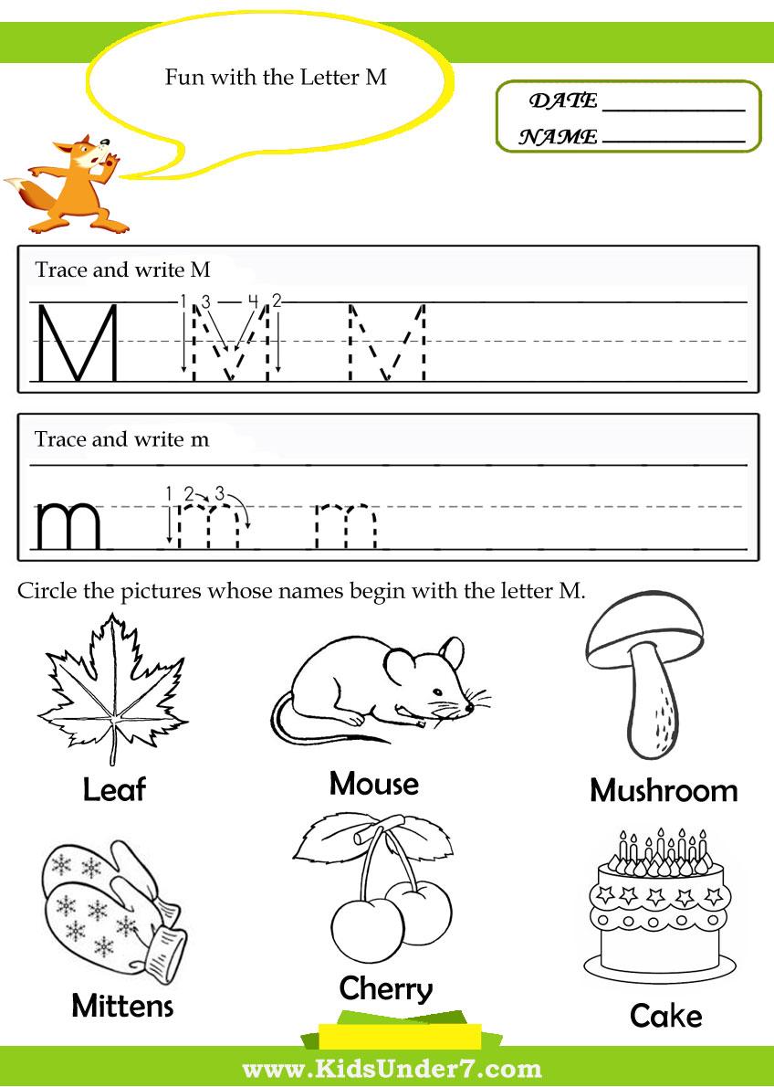 Pre K Color Worksheets Printable – Letter M Worksheet Kindergarten