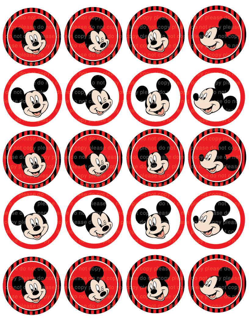 Mickey Mouse Cupcake Toppers Printables