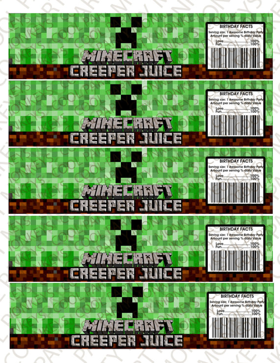 Minecraft Creeper Water Bottle Labels