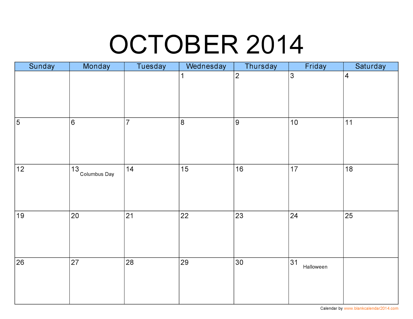7 Images of Free Printable Calendar October 2014