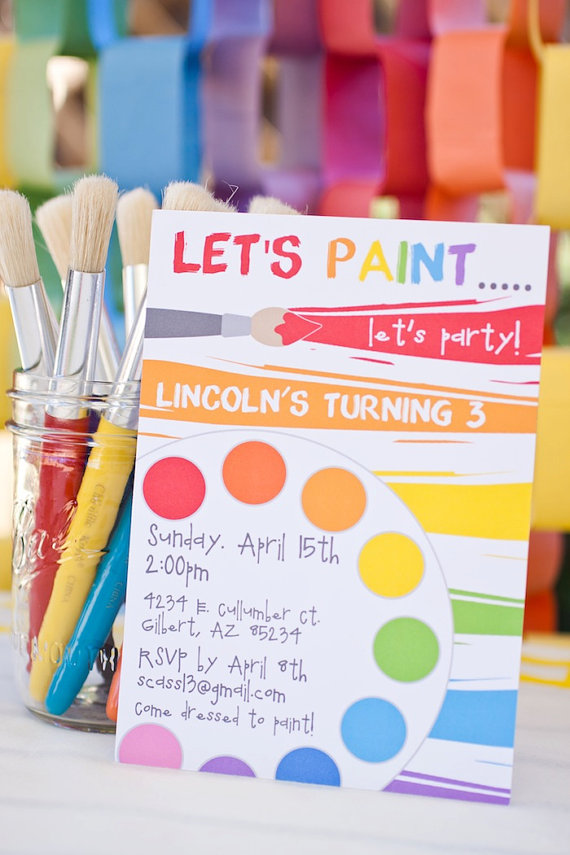 4 Images of Paint Party Printables