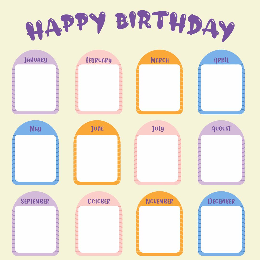 7 Images of Printable For Classroom Birthday Charts