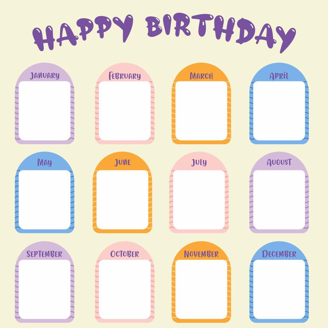 Preschool Birthday Chart Printable