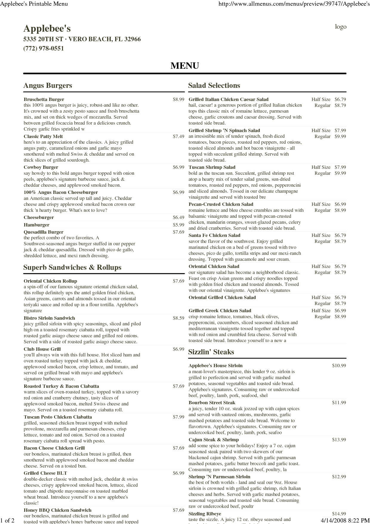 Printable Applebee's Menu
