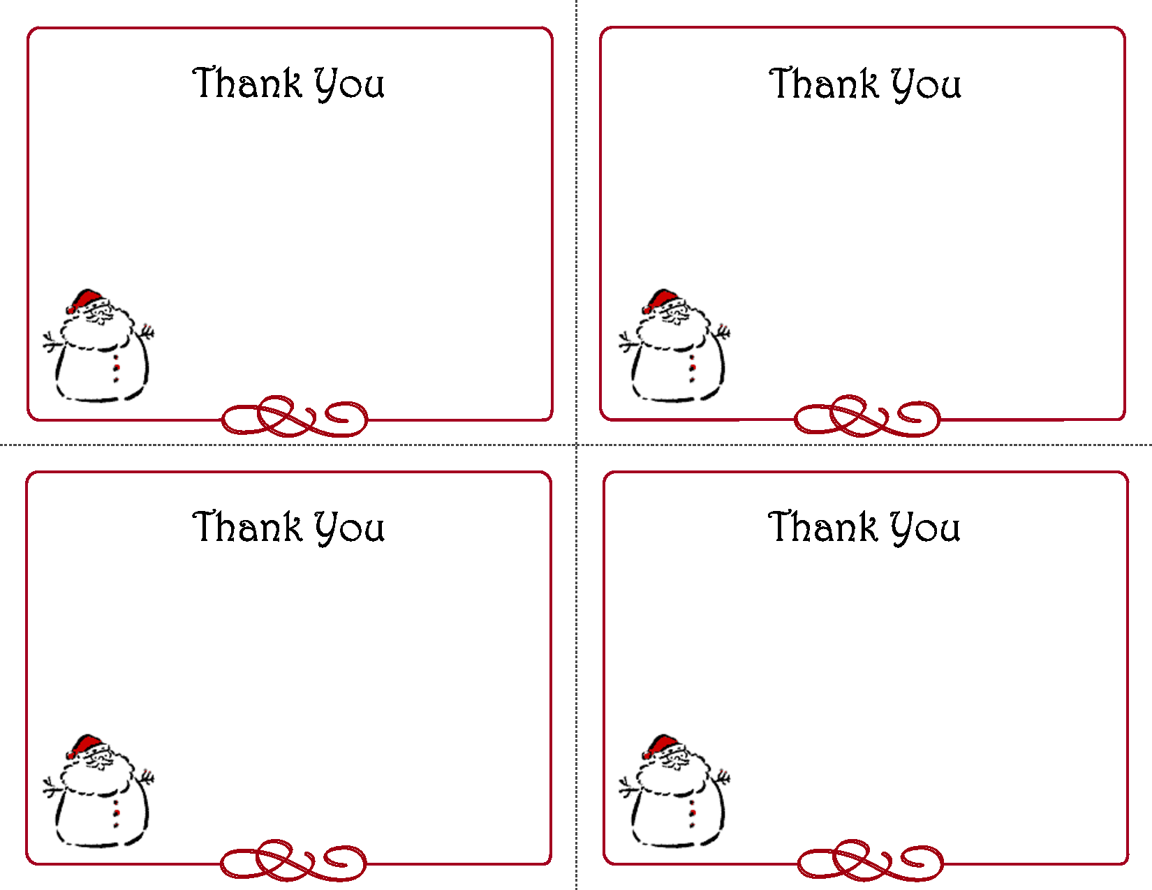 6 Images of Free Printable Christmas Thank You Card Templates