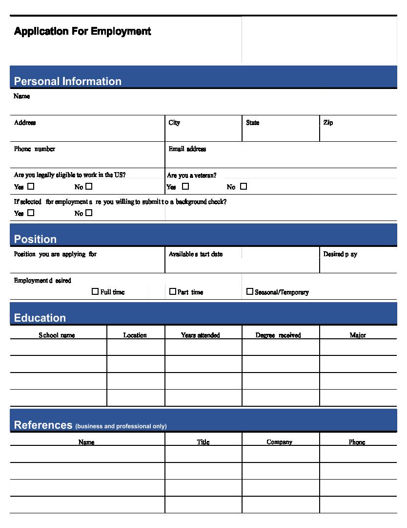 Printable General Job Application Form
