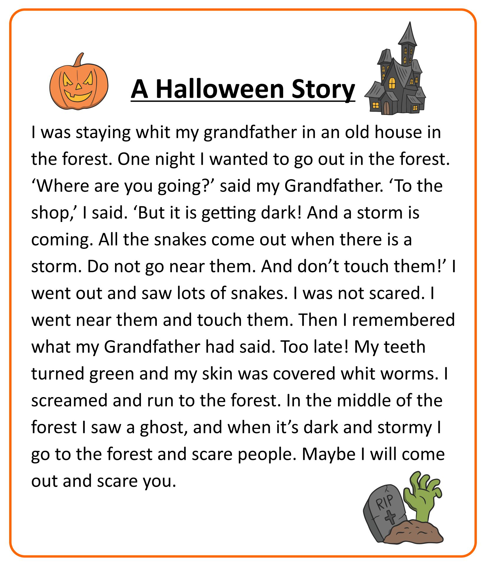 6 Images of Printable Halloween Stories