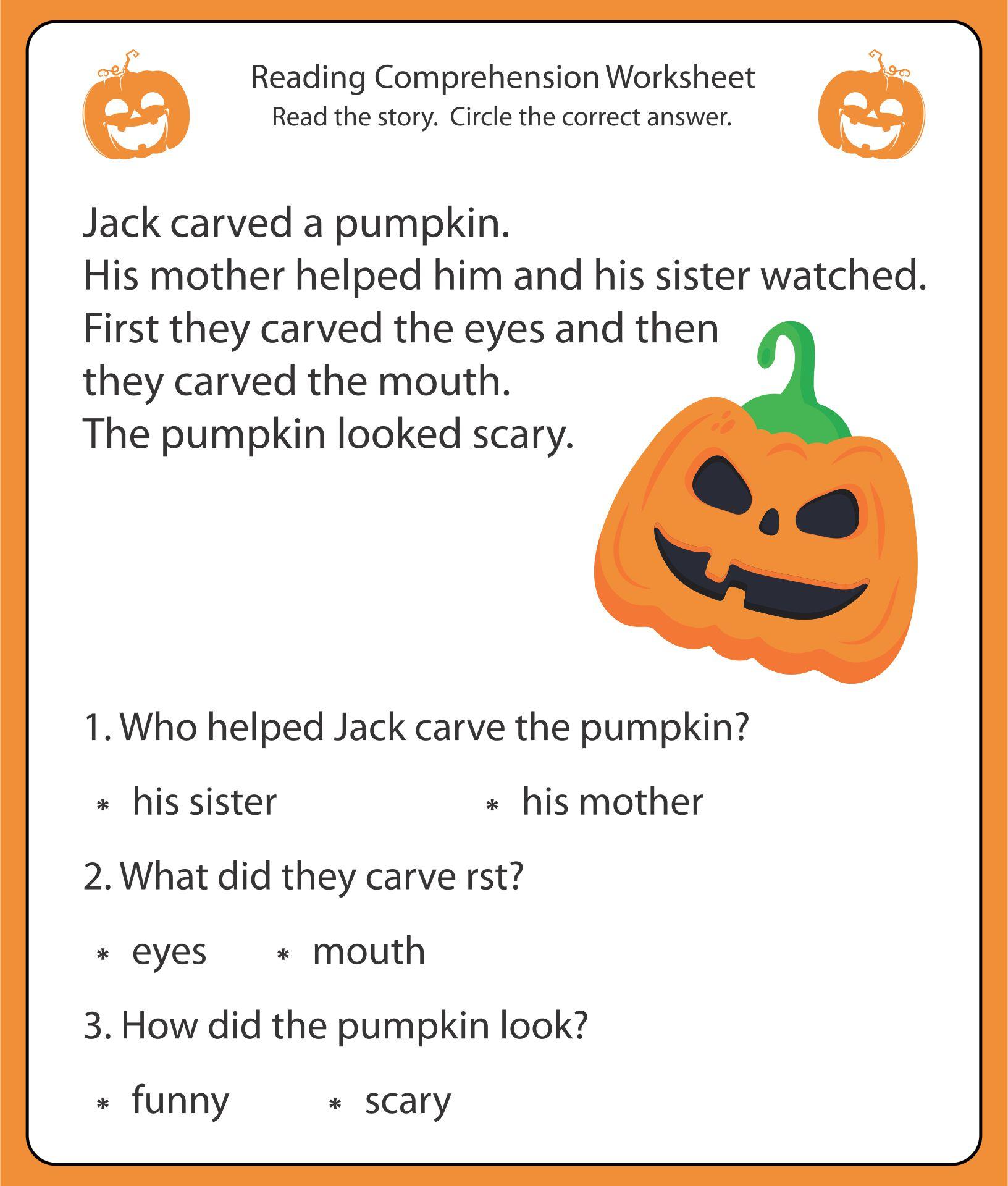 Printable Halloween Worksheets and Stories
