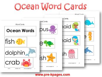 4 Images of Ocean Word Wall Printables