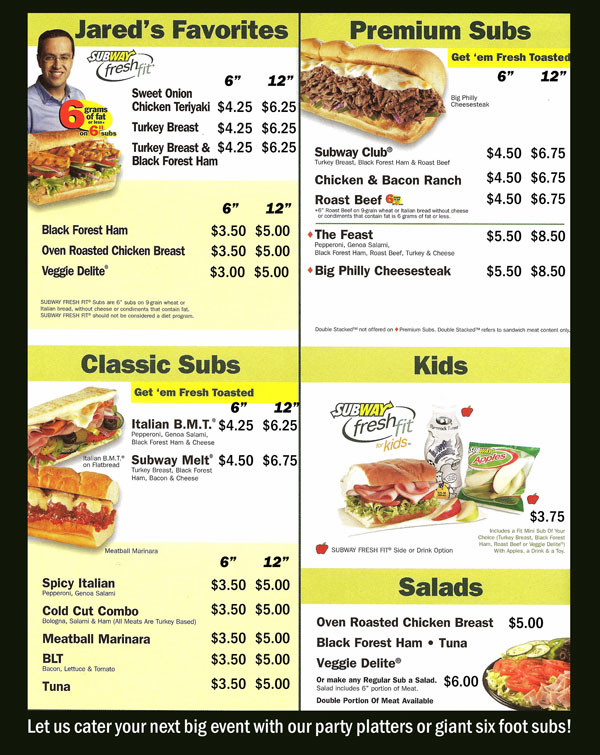 Printable Subway Menu