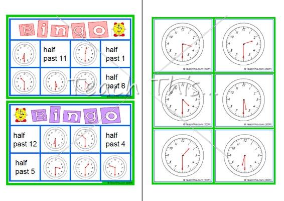 7 Images of Clock Bingo Game Printable