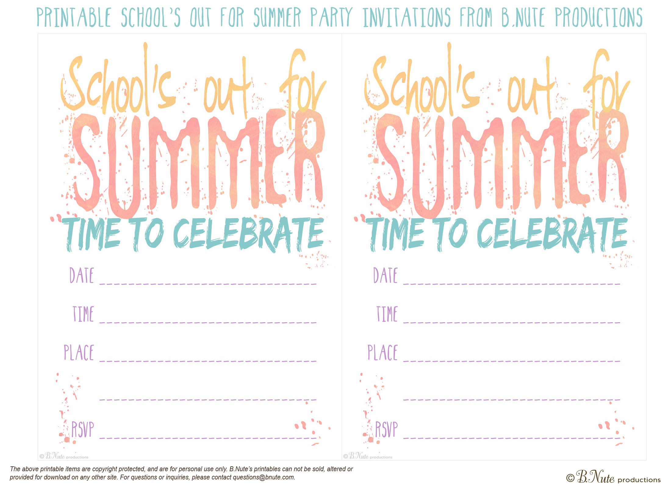 5 Images of Free Printable Summer Invitations