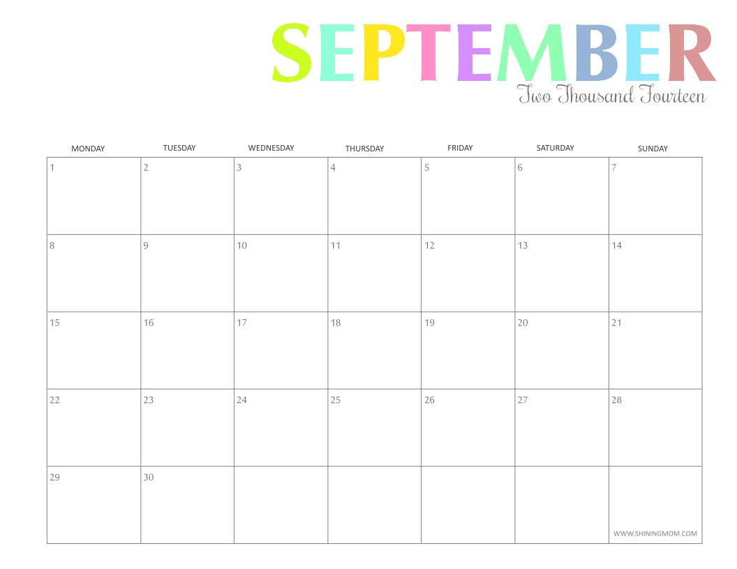 5 Images of Free Printable September Calendar