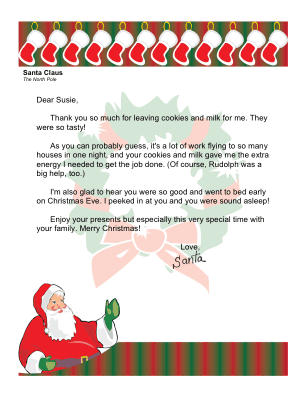 Thank You Letter From Santa
