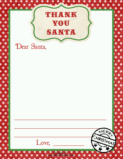 Thank You Santa Letter Template