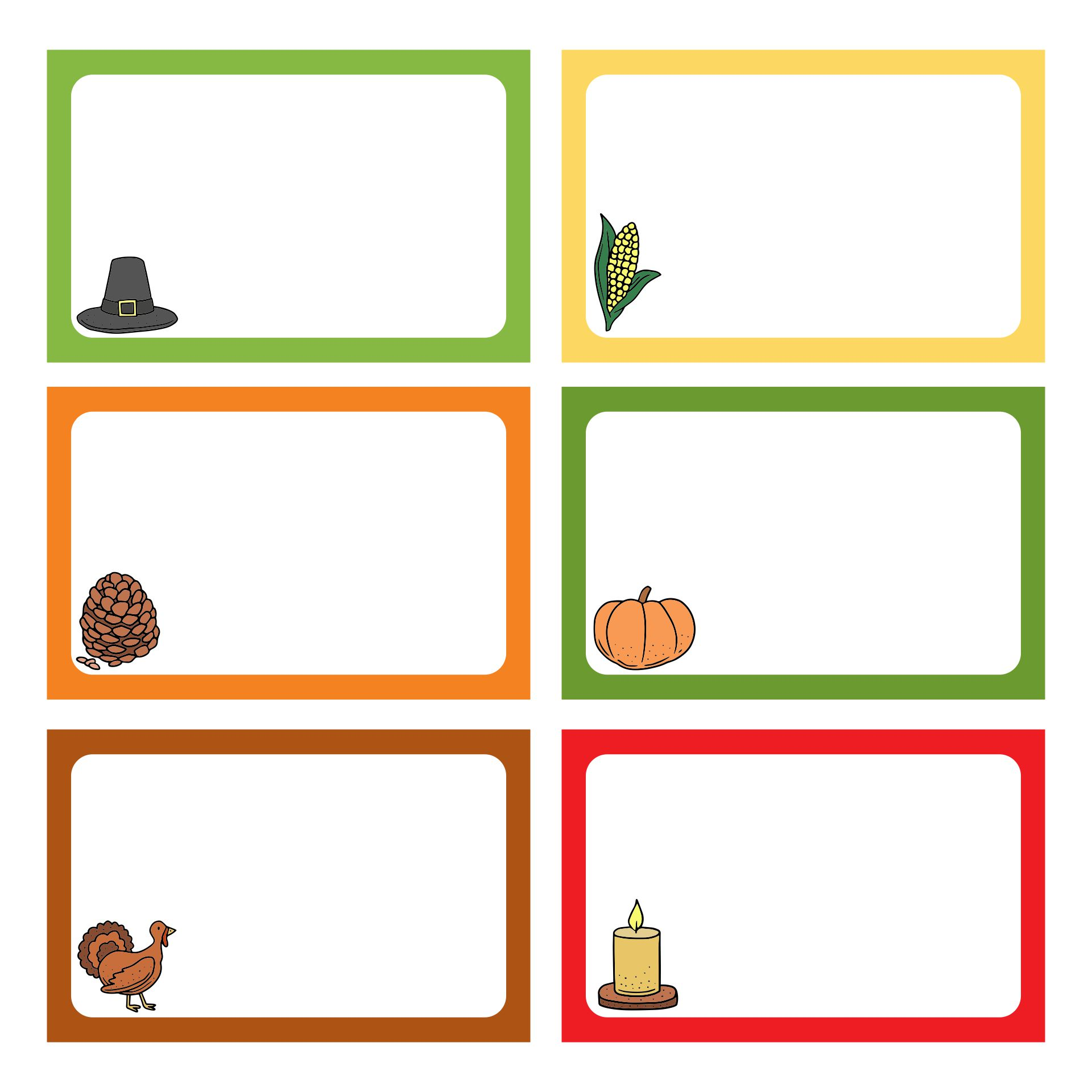 Thanksgiving Name Tags Template